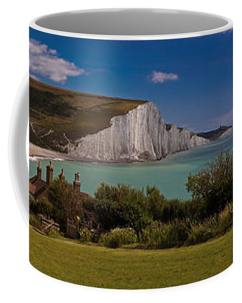 Panorama Coffee Mug featuring the photograph The Seven Sisters And The Coastguard Cottages by Chris Lord