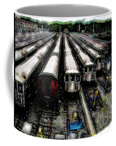 Queens Coffee Mug featuring the photograph The Seven Train Yard Queens Ny by Iowan Stone-Flowers