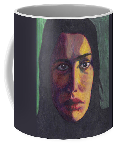 Woman Coffee Mug featuring the drawing The Shadow by Jean Haynes