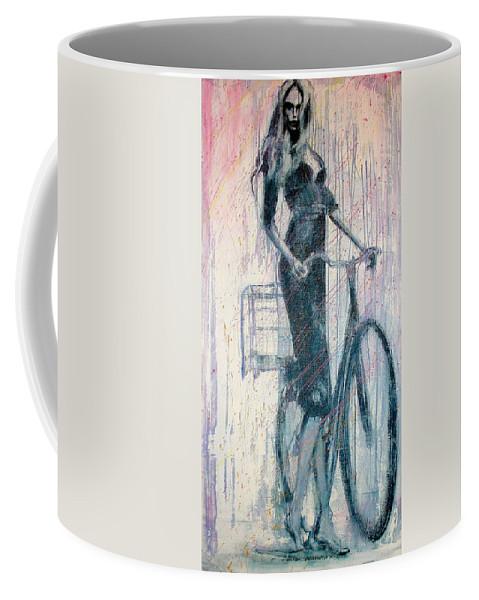 Portrait Art Coffee Mug featuring the painting The She Wolf by Jarmo Korhonen aka Jarko