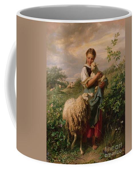 Shepherdess Coffee Mug featuring the painting The Shepherdess by Johann Baptist Hofner