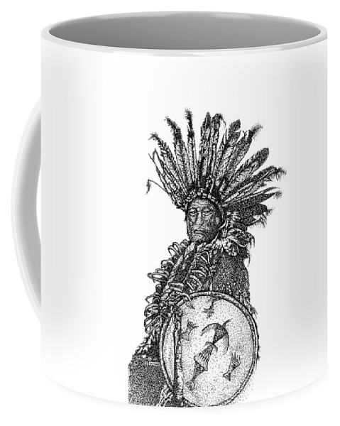Indian Art Coffee Mug featuring the drawing The Shield by Jennifer Campbell Brewer