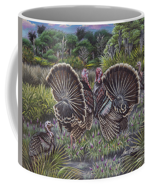 Hunting Coffee Mug featuring the painting The Showoffs by Monica Turner