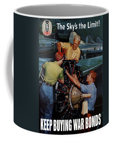 War Effort Coffee Mug featuring the painting The Sky's The Limit - Ww2 by War Is Hell Store