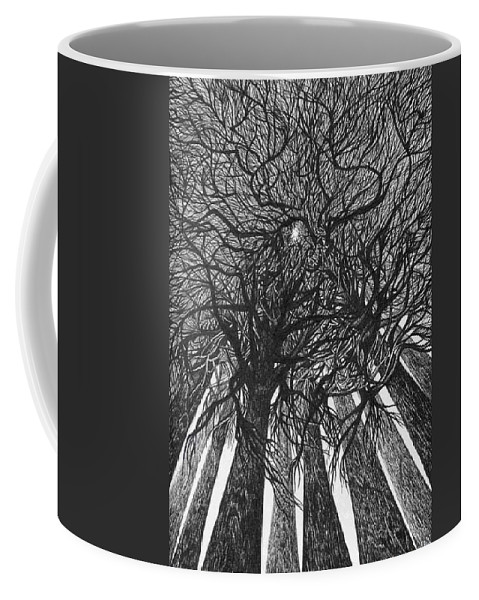 Pen And Ink Coffee Mug featuring the drawing The Skyscrapers Of The Forest by Anna Duyunova