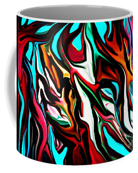 Abstract Coffee Mug featuring the digital art The Smearing Of The Paint 7-02-09 by David Lane