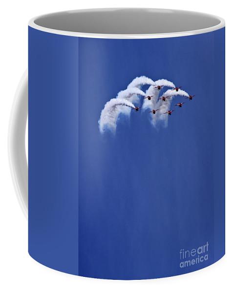 Red Arrows Coffee Mug featuring the photograph The Smoke Umbrella by Angel Tarantella
