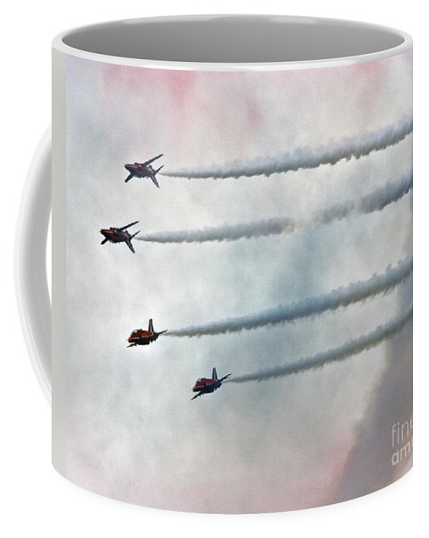 Red Arrows Coffee Mug featuring the photograph The Smokemakers by Angel Ciesniarska