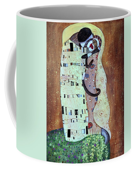 Kiss Coffee Mug featuring the painting The Smooch by Randy Burns