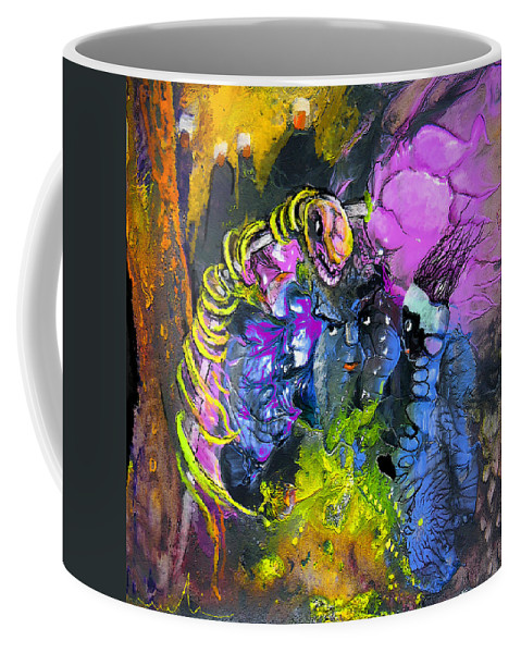 Fantasy Coffee Mug featuring the painting The Snake The Rose And The Black Angel by Miki De Goodaboom