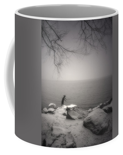 Statue Coffee Mug featuring the photograph The Snow Gatherer by Tara Turner