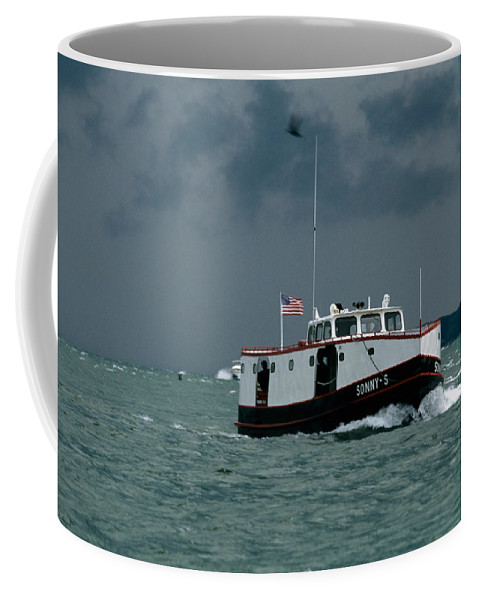Ferry Coffee Mug featuring the photograph The Sonny S Returning From Lonz Winery On Middle Bass Island by John Harmon