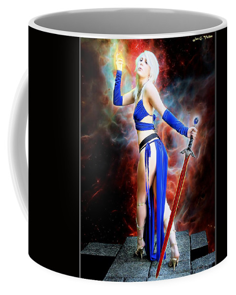 Fantasy Coffee Mug featuring the painting The Sorceress And The Sword by Jon Volden