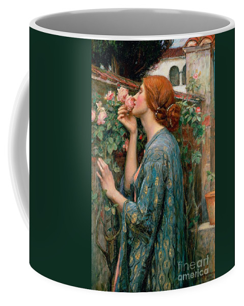 The Coffee Mug featuring the painting The Soul of the Rose by John William Waterhouse