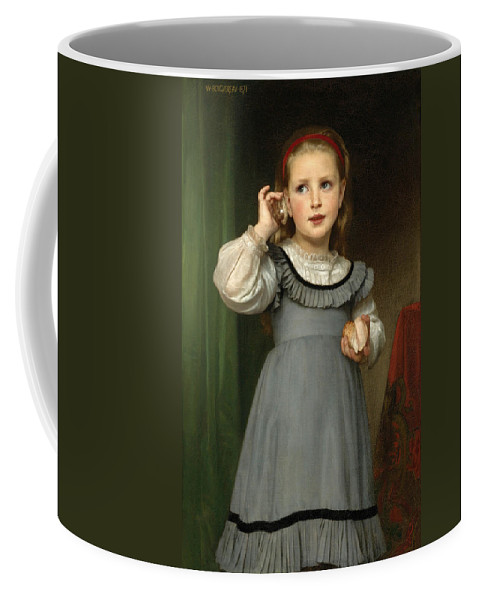 William-adolphe Bouguereau Coffee Mug featuring the painting The Sound Of The Sea by William-Adolphe Bouguereau