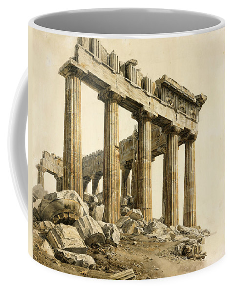 Giovanni Battista Lusieri Coffee Mug featuring the drawing The South-east Corner Of The Parthenon. Athens by Giovanni Battista Lusieri