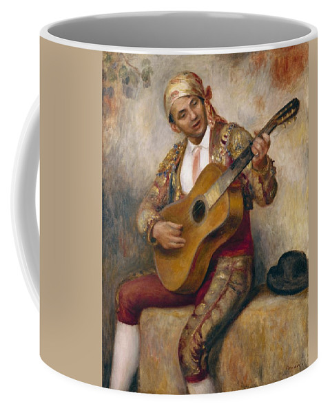 The Coffee Mug featuring the painting The Spanish Guitarist by Pierre Auguste Renoir