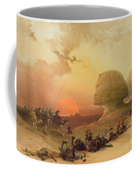 The Sphinx At Giza (colour Litho) By David Roberts (1796-1864) Coffee Mug featuring the painting The Sphinx At Giza by David Roberts