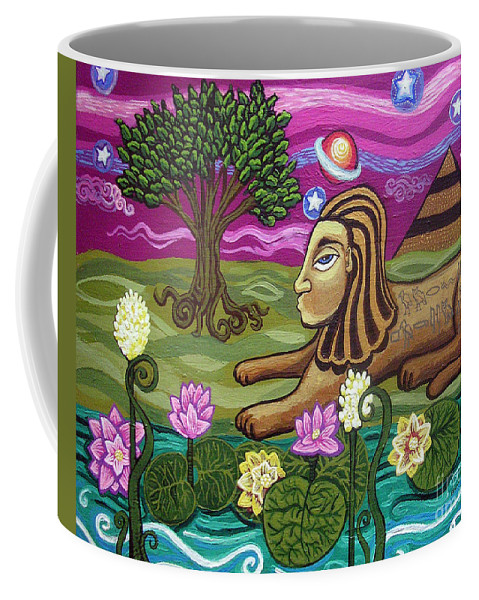 Egypt Coffee Mug featuring the painting The Sphinx by Genevieve Esson