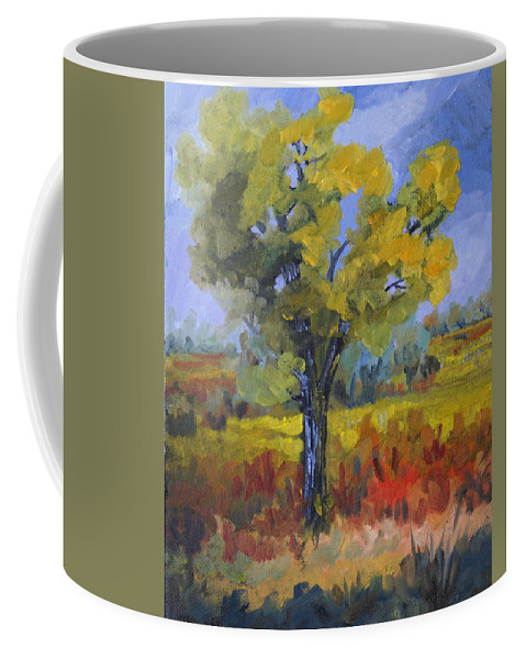 Spring Coffee Mug featuring the painting The Spring Tree by Heather Coen