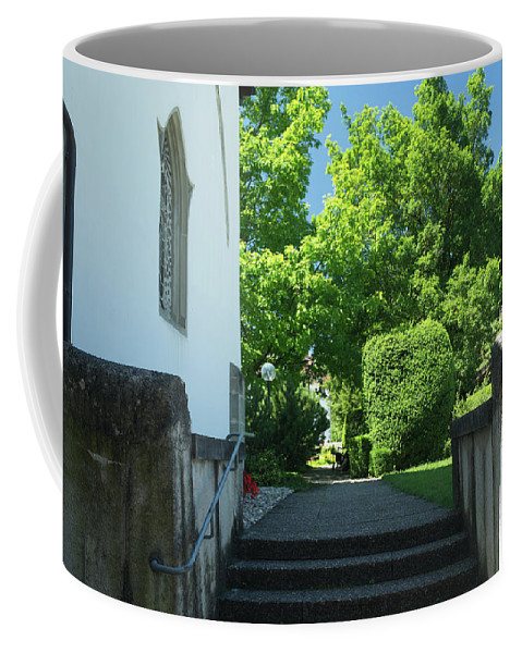 Michelle Meenawong Coffee Mug featuring the photograph the stairs behind the Gottstatt Monastery church by Michelle Meenawong
