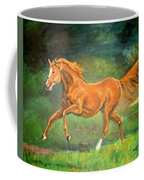 Horse Coffee Mug featuring the painting The Stallion-horse Art Painting by Manjiri Kanvinde