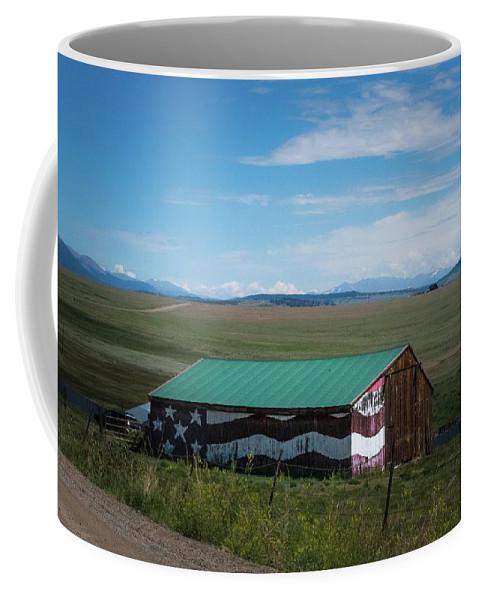 Barn Coffee Mug featuring the photograph The Star Spangled Barn by Gayne Dorio