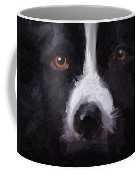 Border Collie Dog Sheepdog Stare Coffee Mug featuring the digital art The Stare by Scott Waters