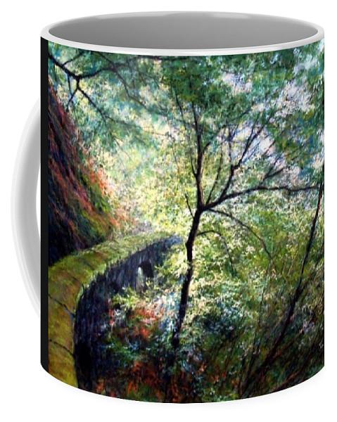 Pastel Coffee Mug featuring the painting The Stone Wall by Jim Gola