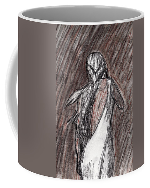 Woman Coffee Mug featuring the drawing The Storm by Jean Haynes