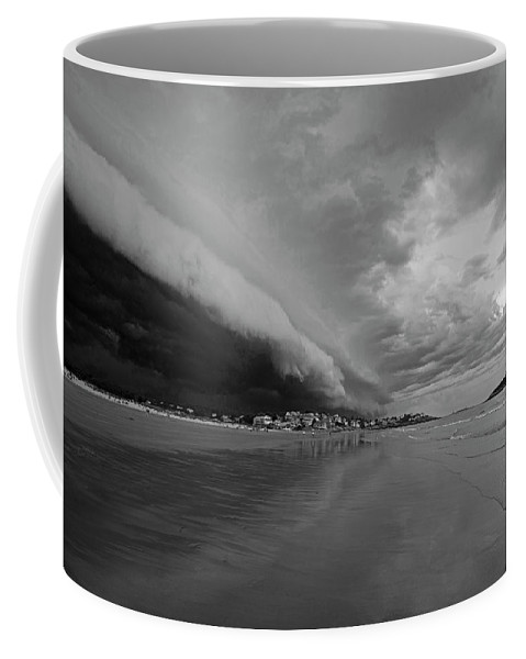 Gloucester Coffee Mug featuring the photograph The Storm Rolling In To Good Harbor Beach Gloucester Ma Black And White by Toby McGuire