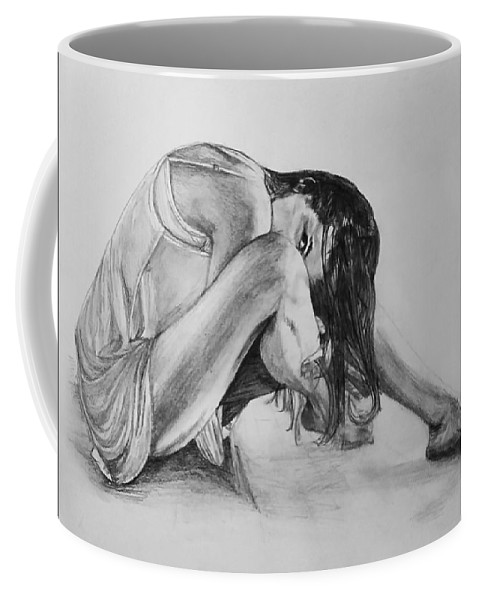 Coffee Mug featuring the drawing The Stretch by Sheryl Gallant