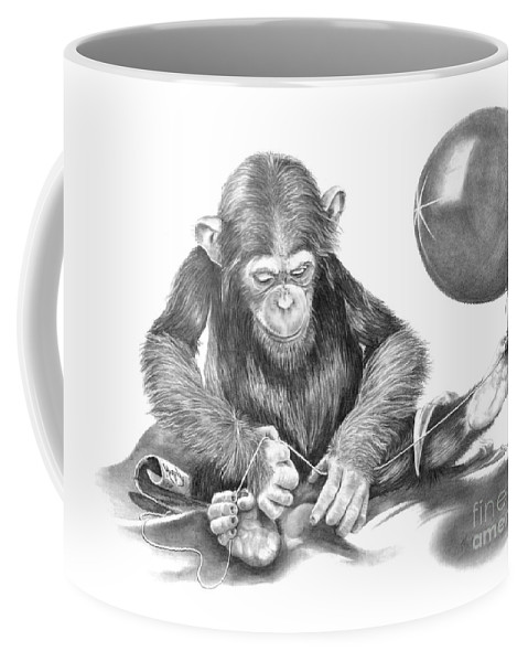 Pencil Coffee Mug featuring the drawing The String Theory by Murphy Elliott