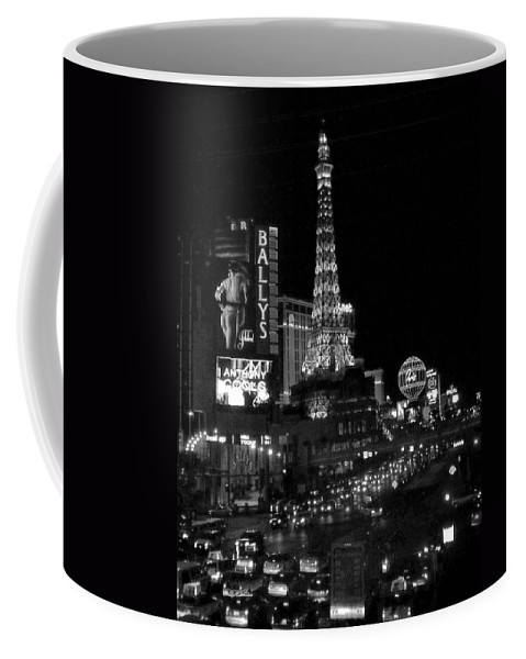 Las Vegas Strip Coffee Mug featuring the photograph The Strip By Night B-w by Anita Burgermeister