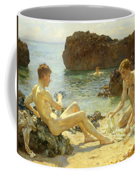 Nude Coffee Mug featuring the painting The Sun Bathers by Henry Scott Tuke