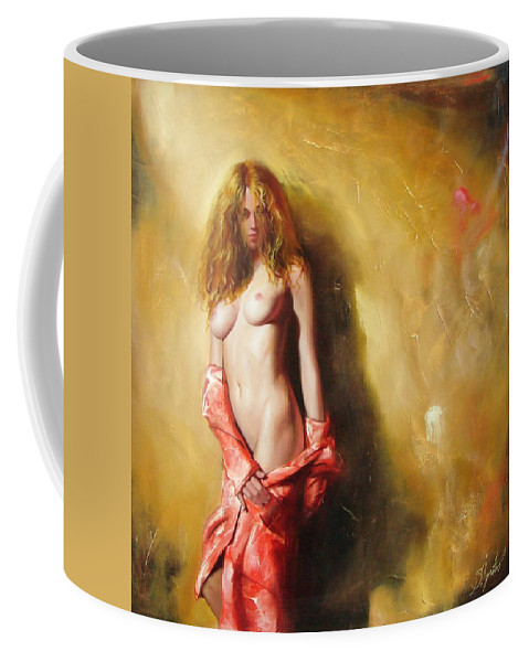Art Coffee Mug featuring the painting The Sun In Red by Sergey Ignatenko