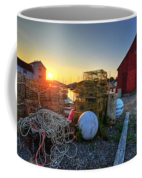 Rockport Coffee Mug featuring the photograph The Sun Rising By Motif 1 In Rockport Ma Bearskin Neck Lobster Traps by Toby McGuire