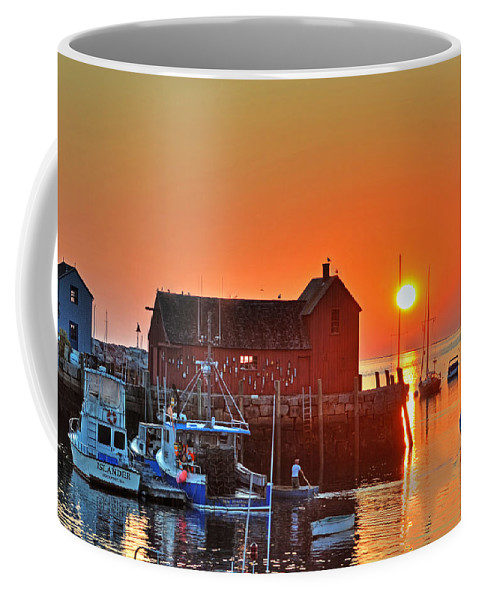 Rockport Coffee Mug featuring the photograph The Sun Rising By Motif Number 1 In Rockport Ma Bearskin Neck by Toby McGuire
