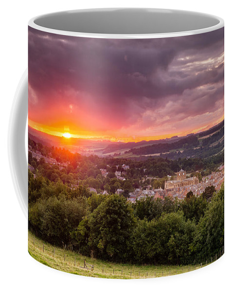 Northumberland Coffee Mug featuring the photograph The Sun Sets Over Hexham by David Head