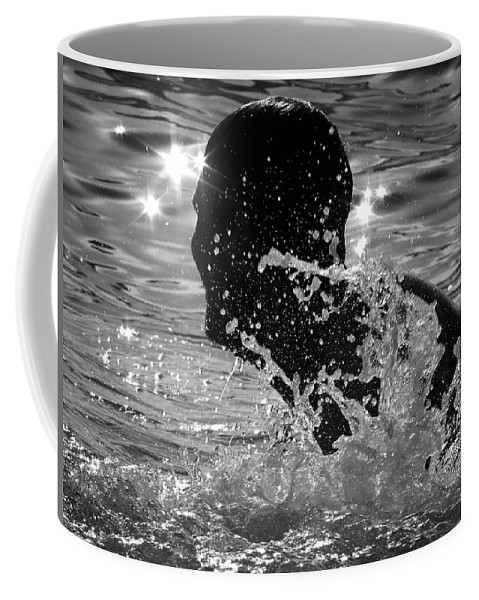Swim Coffee Mug featuring the photograph The Sunset Swim by Marysue Ryan