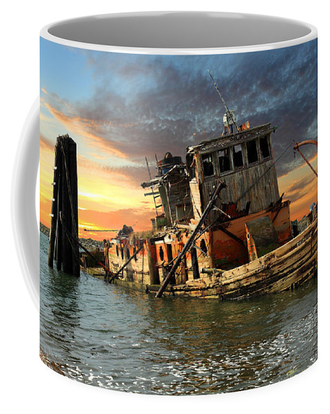 Boat Coffee Mug featuring the photograph The Sunset Years Of The Mary D. Hume by James Eddy