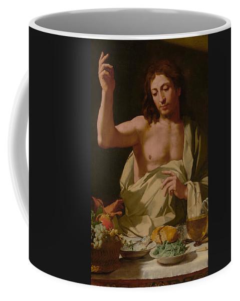 Bartolomeo Coffee Mug featuring the painting The Supper At Emmaus-detail by Bartolomeo Cavarozzi