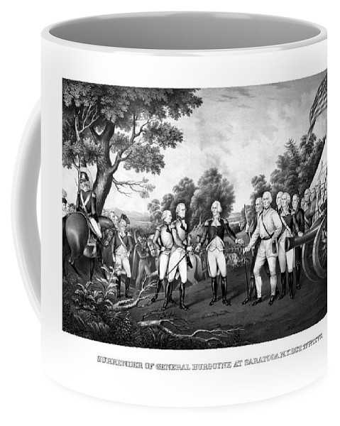 Revolutionary War Coffee Mug featuring the painting The Surrender Of General Burgoyne by War Is Hell Store