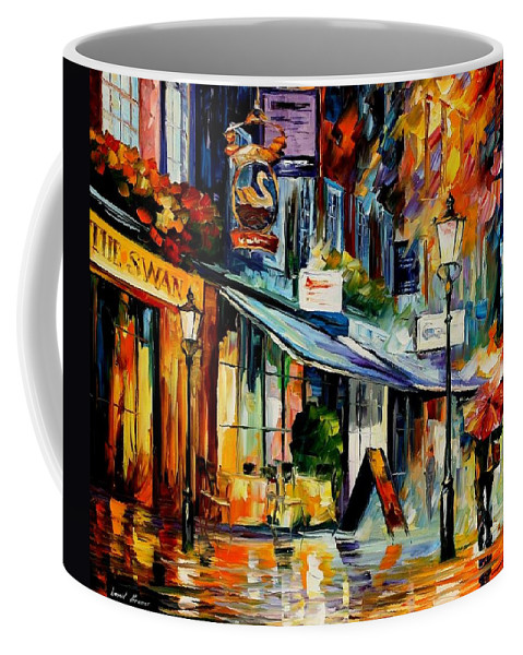 Afremov Coffee Mug featuring the painting The Swan - London by Leonid Afremov
