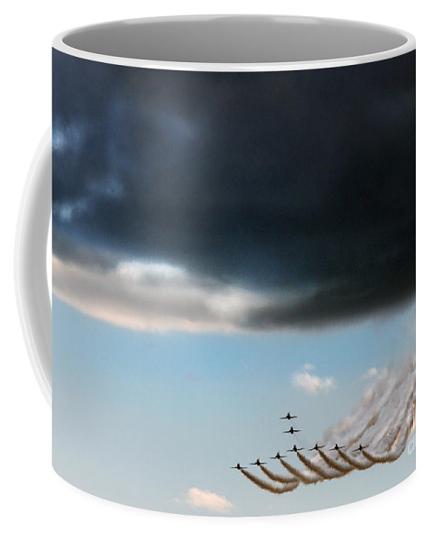 Red Arrows Coffee Mug featuring the photograph The Swan Formation by Angel Tarantella