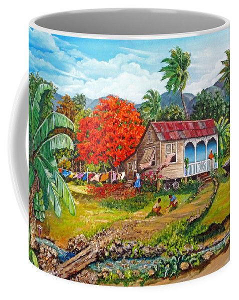 Tropical Scene Caribbean Scene Coffee Mug featuring the painting The Sweet Life by Karin Dawn Kelshall- Best