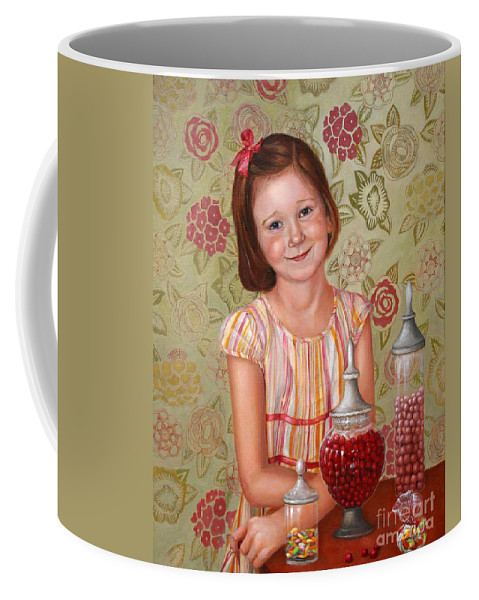 Children Portrait Coffee Mug featuring the painting The Sweet Sneak by Portraits By NC