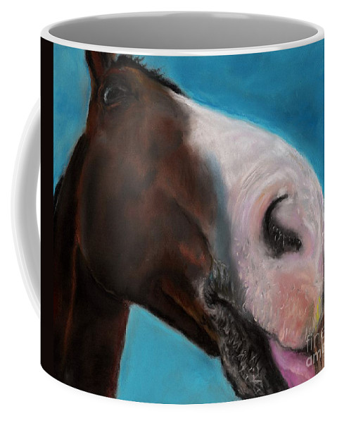 Abstract Horses Coffee Mug featuring the painting The Tasty Post by Frances Marino
