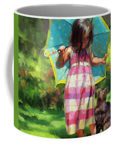 Child Coffee Mug featuring the painting The Teal Umbrella by Steve Henderson