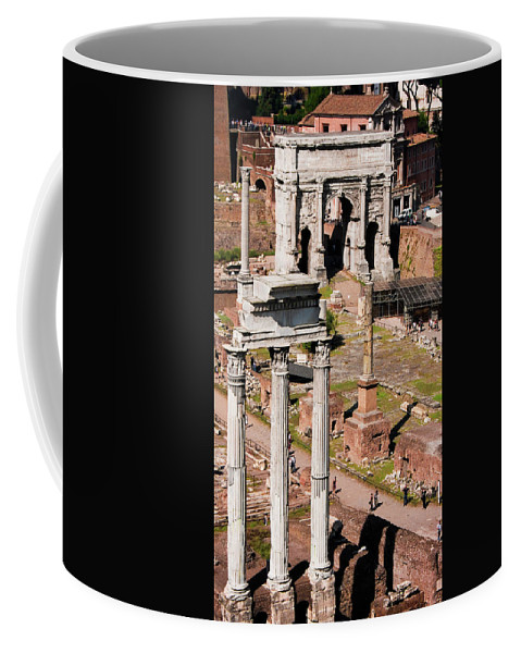 Rome Coffee Mug featuring the photograph The Temple Of Castor And Pollux At The Forum From The Palatine by Weston Westmoreland